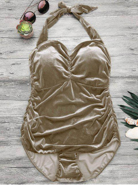 Combinaison de bain en satin de velours rembourré Halter - Champagne 5XL Mobile