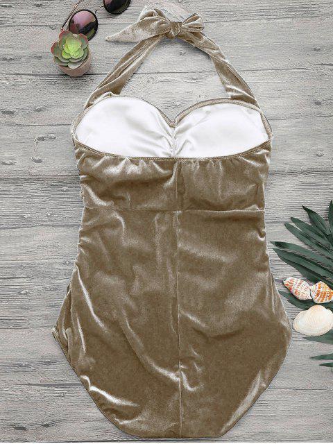 hot Halter Padded Velvet Plus Size Bathing Suit - CHAMPAGNE XL Mobile