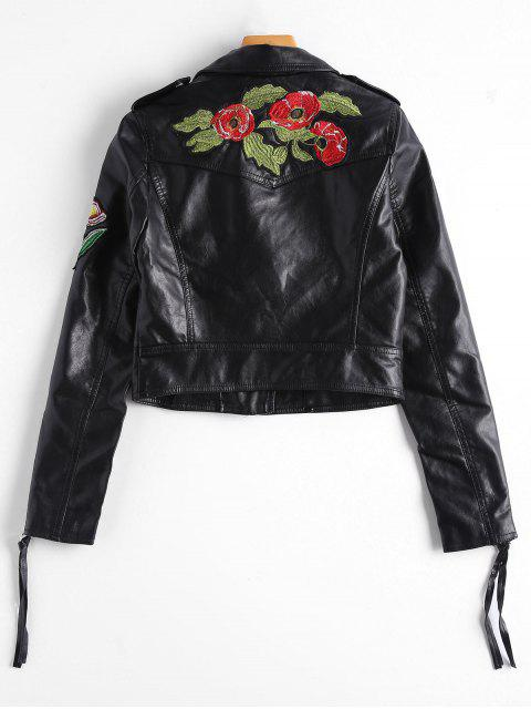 online Embroidered Patched Zippered Faux Leather Jacket - BLACK M Mobile