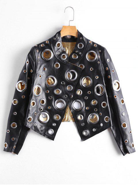 shop Hollow Out Ring Embellished Shiny Jacket - BLACK S Mobile