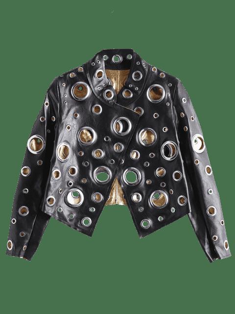 unique Hollow Out Ring Embellished Shiny Jacket - BLACK L Mobile