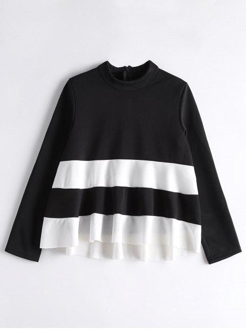 chic High Neck Two Tone Sweatshirt - WHITE AND BLACK ONE SIZE Mobile
