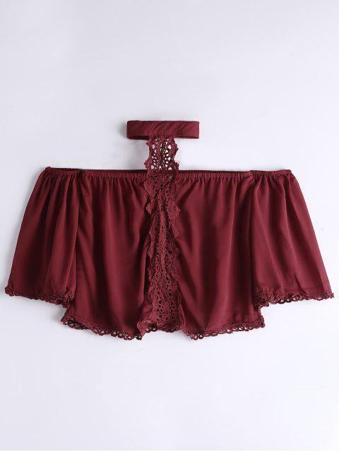 buy Loose Lace Panel Choker Blouse - WINE RED S Mobile