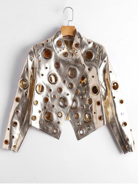 womens Hollow Out Ring Embellished Shiny Jacket - GOLDEN M Mobile