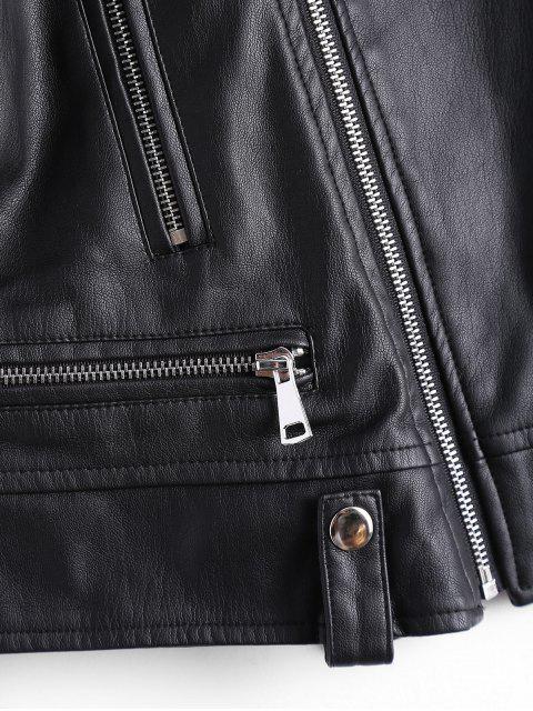 best Asymmetric Zipper Faux Leather Biker Jacket - BLACK S Mobile