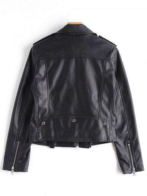 new Asymmetric Zipper Faux Leather Biker Jacket - BLACK M Mobile