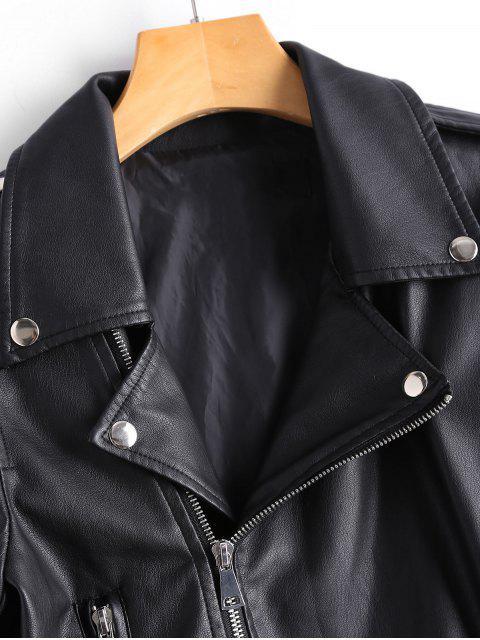hot Asymmetric Zipper Faux Leather Biker Jacket - BLACK L Mobile