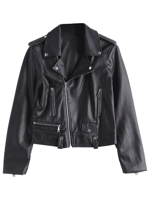 outfit Asymmetric Zipper Faux Leather Biker Jacket - BLACK XL Mobile