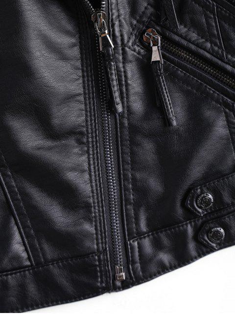 latest Asymmetrical Zipper Faux Leather Biker Jacket - BLACK M Mobile