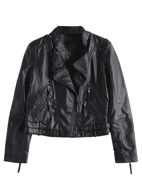 fancy Asymmetrical Zipper Faux Leather Biker Jacket - BLACK XL Mobile