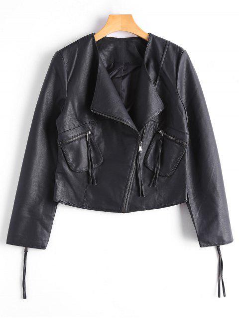 women Zip Up Faux Leather Biker Jacket - BLACK L Mobile