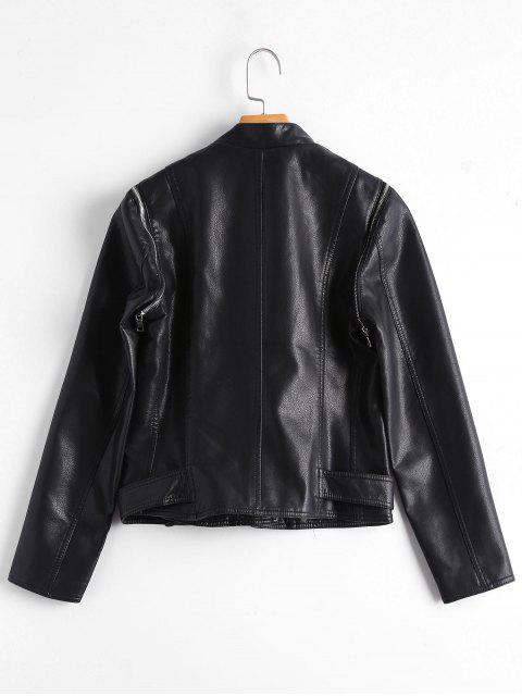 new Asymmetric Zipper Belted Convertible Faux Leather Jacket - BLACK S Mobile