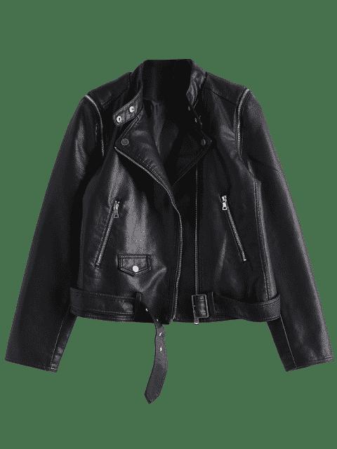 hot Asymmetric Zipper Belted Convertible Faux Leather Jacket - BLACK M Mobile