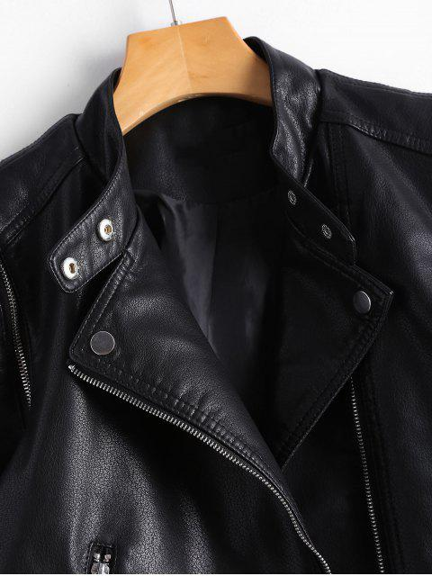 outfit Asymmetric Zipper Belted Convertible Faux Leather Jacket - BLACK L Mobile