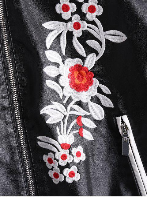 latest Floral Letter Patched Faux Leather Bomber Jacket - BLACK L Mobile