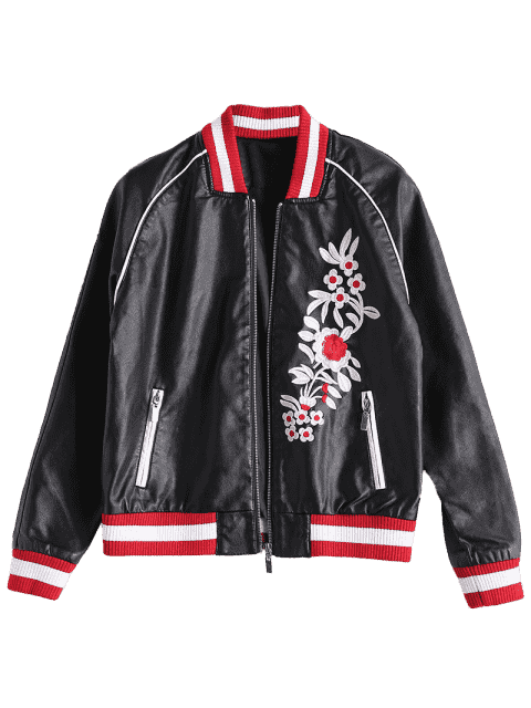fashion Floral Letter Patched Faux Leather Bomber Jacket - BLACK XL Mobile