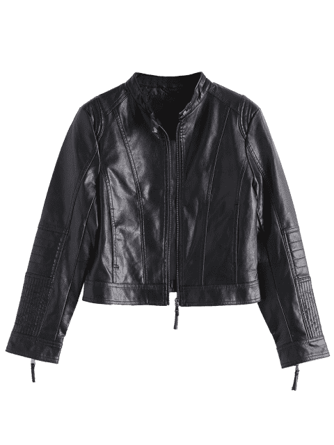 affordable Zippered Faux Leather Jacket with Invisible Pockets - BLACK XL Mobile