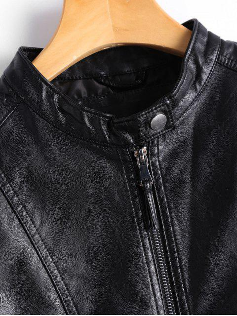 women Zippered Faux Leather Jacket with Invisible Pockets - BLACK 2XL Mobile