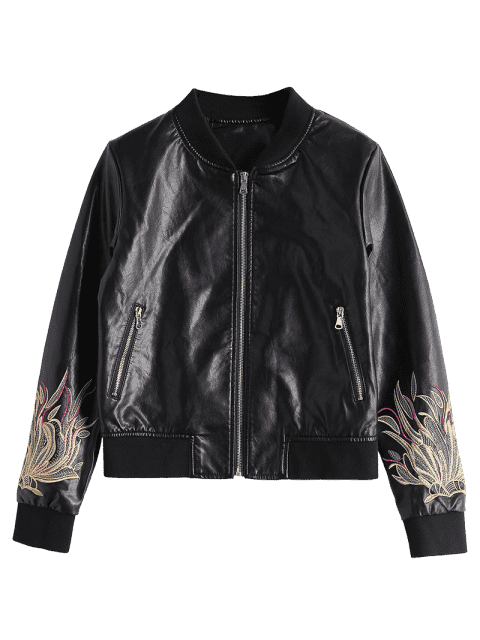 ladies Zip Up Floral Patched Faux Leather Jacket - BLACK S Mobile