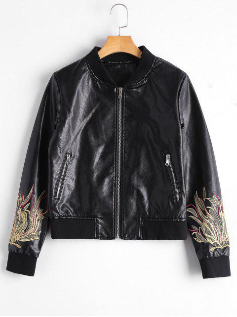 best Zip Up Floral Patched Faux Leather Jacket - BLACK M Mobile