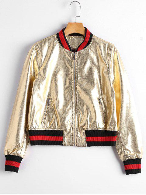 chic Zip Up Faux Leather Bomber Jacket - GOLDEN L Mobile