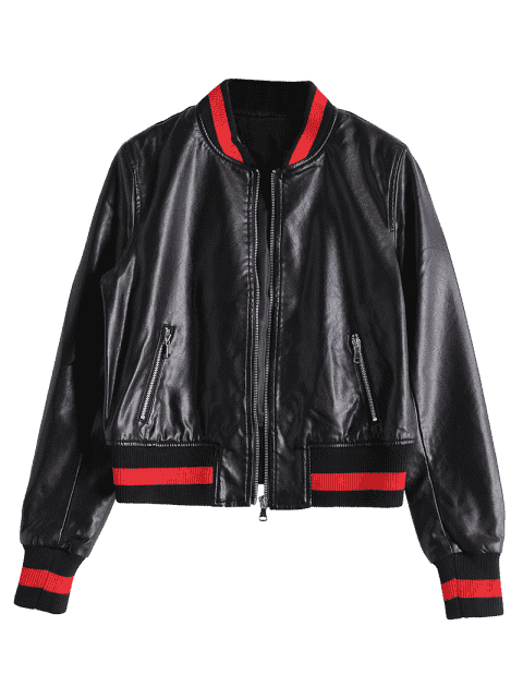 unique Zip Up Faux Leather Bomber Jacket - BLACK XL Mobile