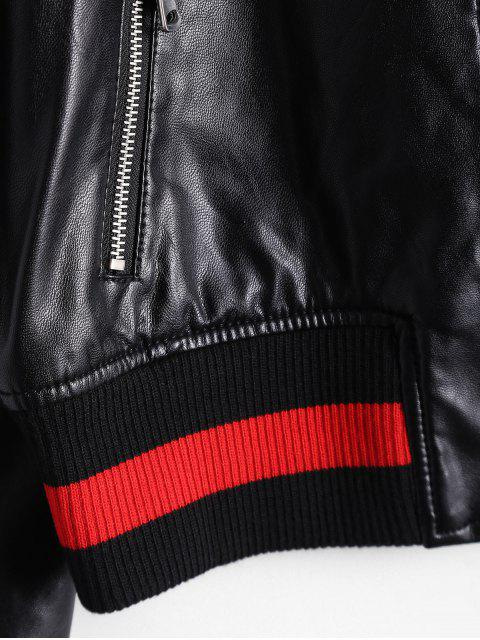 affordable Zip Up Faux Leather Bomber Jacket - BLACK M Mobile