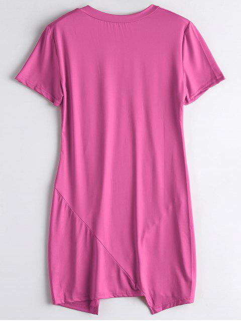lady Letter Ripped Casual Tee Dress - ROSE RED S Mobile