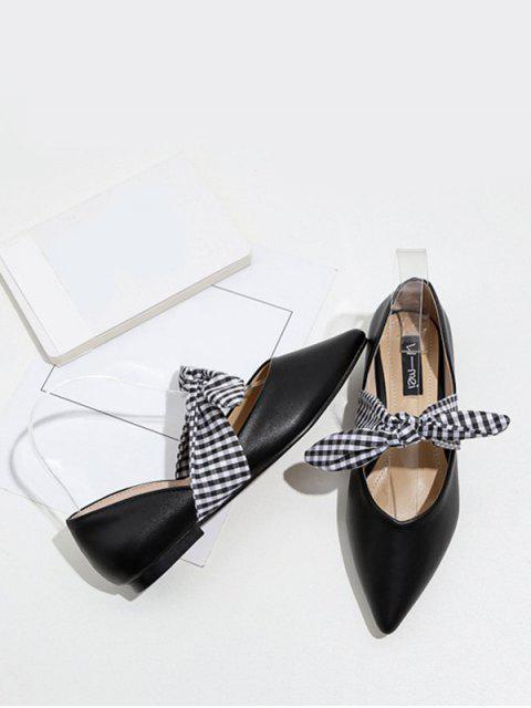 Faux cuero punta dedo del pie atar hasta zapatos planos - Negro 38 Mobile