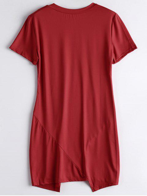 outfit Letter Ripped Casual Tee Dress - RED XL Mobile