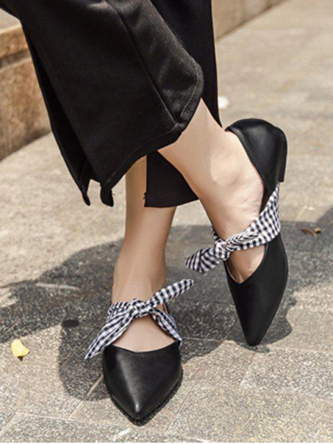 latest Faux Leather Pointed Toe Tie Up Flat Shoes - BLACK 39 Mobile