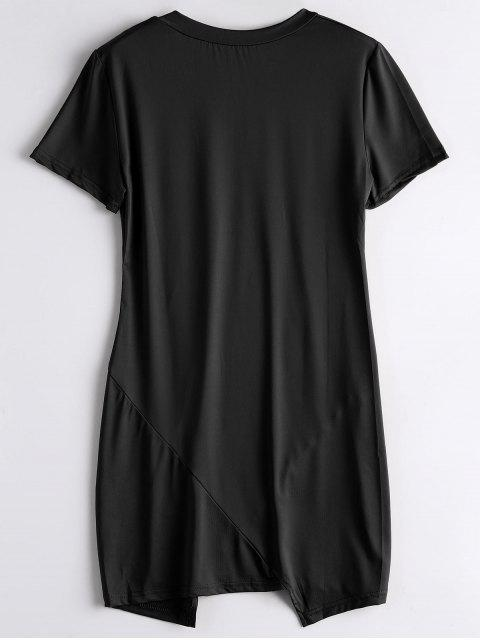 fancy Letter Ripped Casual Tee Dress - BLACK L Mobile
