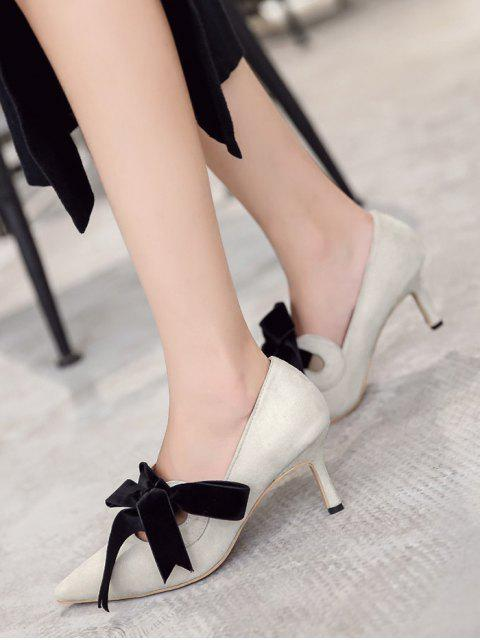 affordable Mid Heel Bow Pointed Toe Pumps - APRICOT 37 Mobile