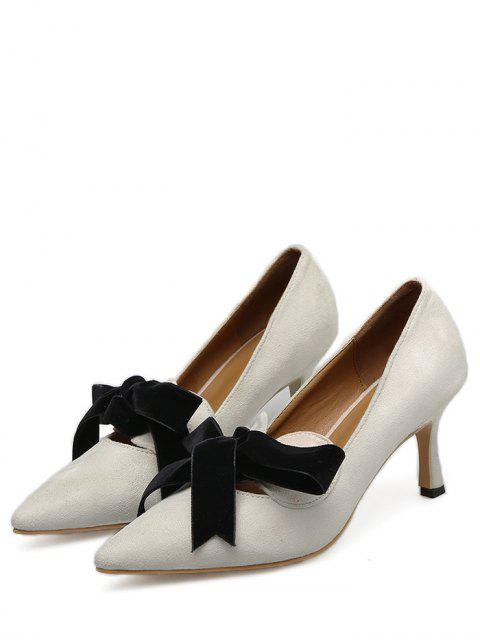 womens Mid Heel Bow Pointed Toe Pumps - APRICOT 39 Mobile