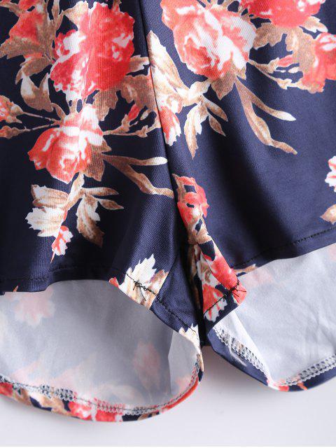 Bowknot Floral Cut Out Romper - Bleu Violet M Mobile
