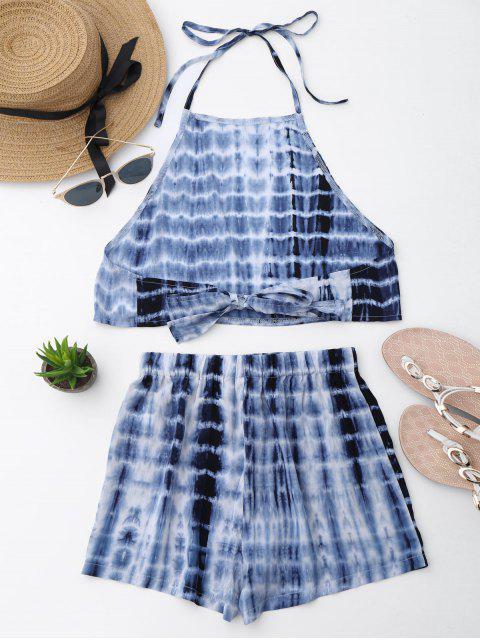 Découpe à manches courtes et à lacets - Bleu L Mobile