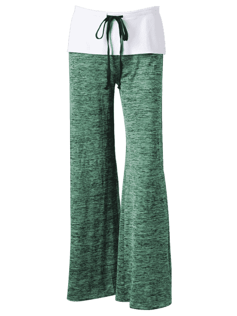 best Foldover Heather Wide Leg Pants - APPLE GREEN S Mobile