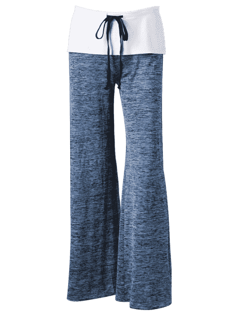 new Foldover Heather Wide Leg Pants - BLUE GRAY S Mobile