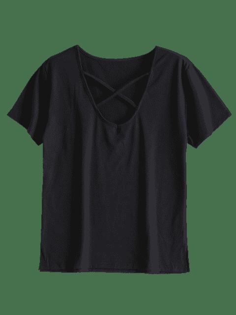 T-shirt Criss Cross en coton - Noir S Mobile
