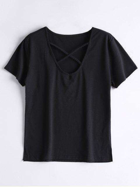 chic Cotton Criss Cross T-Shirt - BLACK M Mobile