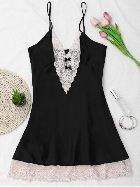 affordable Lace Panel Satin Cami Babydoll - BLACK ONE SIZE Mobile