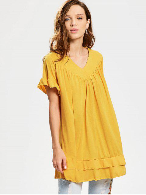 latest V Neck Ruffle Hem Tiered Long Blouse - GINGER XL Mobile