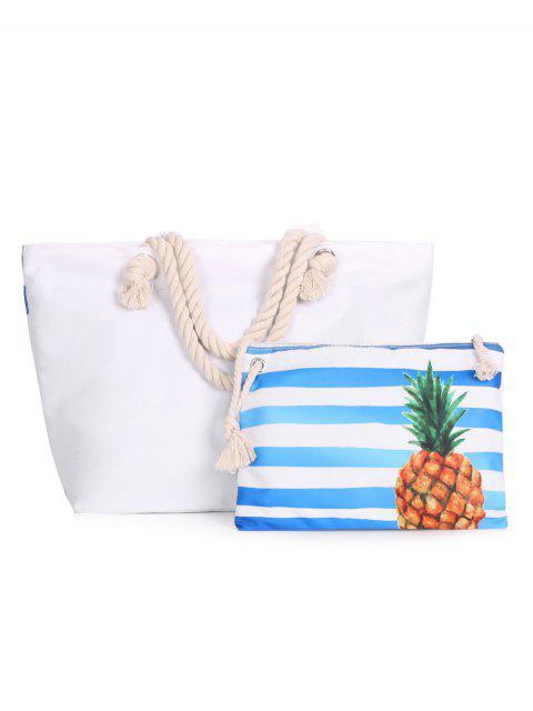 sale Color Blcok 2 Pieces Striped Shoulder Bag Set - BLUE  Mobile