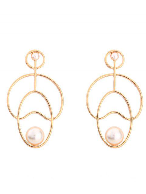 Hollow Out Faux Pearl Stud Earrings - Or  Mobile