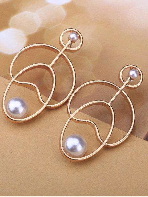trendy Hollow Out Faux Pearl Stud Earrings - GOLDEN  Mobile