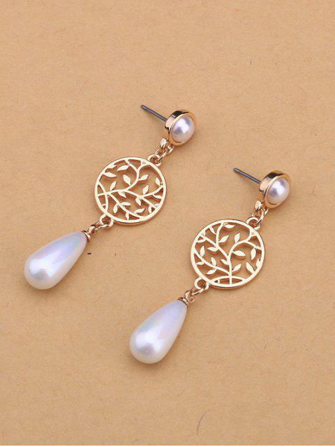 new Life Tree Faux Pearl Pendant Earrings - GOLDEN  Mobile