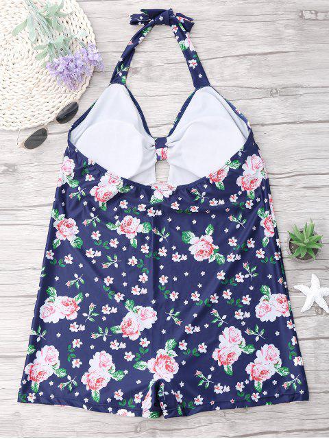 womens Plus Size Floral Halter One Piece Swimsuit - BLUE 3XL Mobile