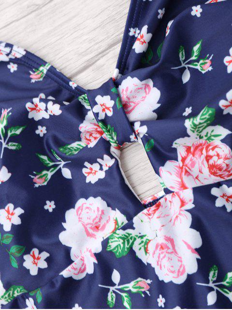 women Plus Size Floral Halter One Piece Swimsuit - BLUE 2XL Mobile