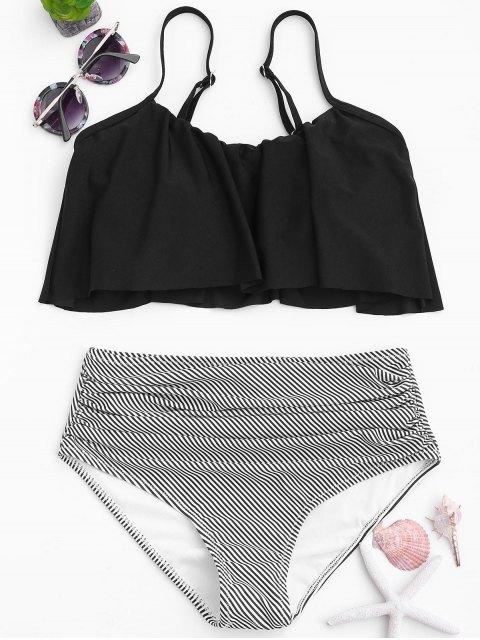 hot Stripe Panel High Waisted Bikini Set - BLACK S Mobile