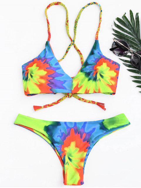 womens Tie Dye Braided Criss Cross Bikini Set - YELLOW XL Mobile